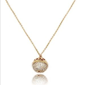 Gold doraemon bell crystal necklace